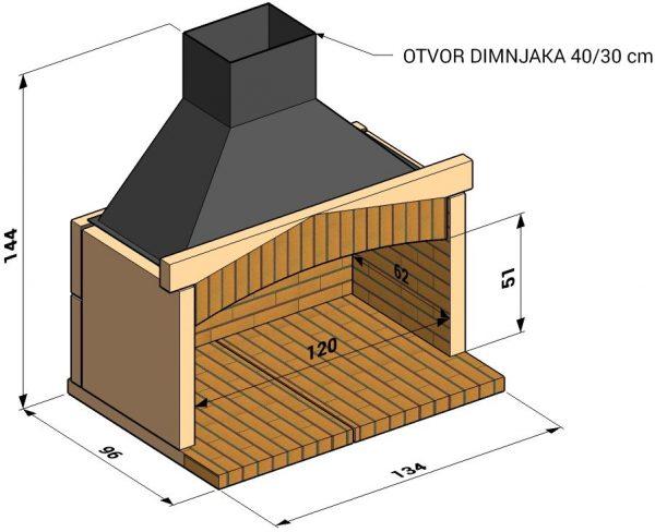 Otvoreno ložište L120cm