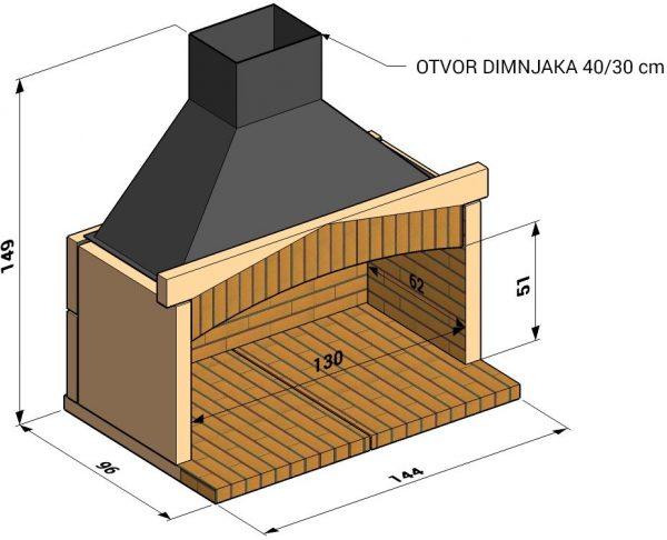 Otvoreno ložište L130cm