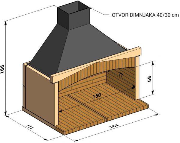 Otvoreno ložište L150cm