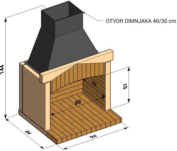Otvoreno ložište L80cm